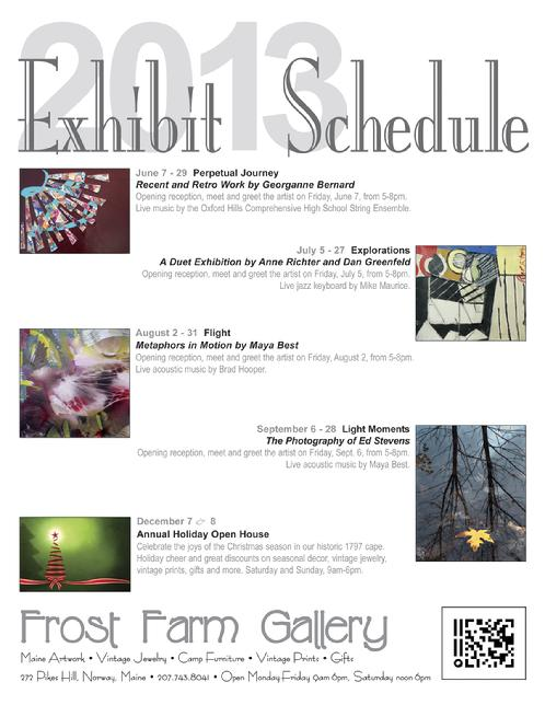 Frost Farm Gallery 2013 Exhibit Schedule